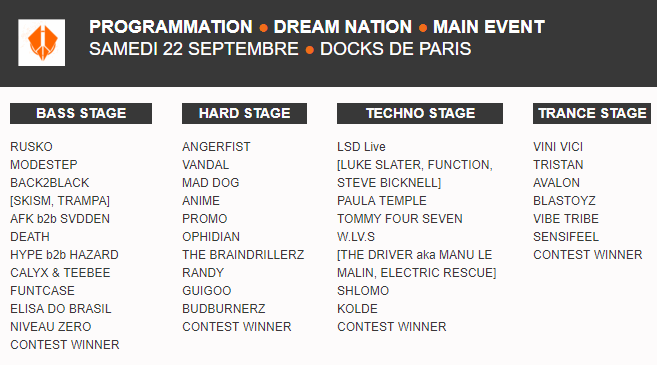 Programmation Dream Nation Festival